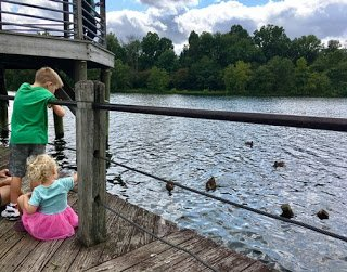 Feeding the ducks at Lake Artemesia