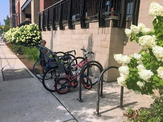 Bike rack at the Board and Brew