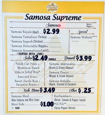 Menu at Samosa Supreme