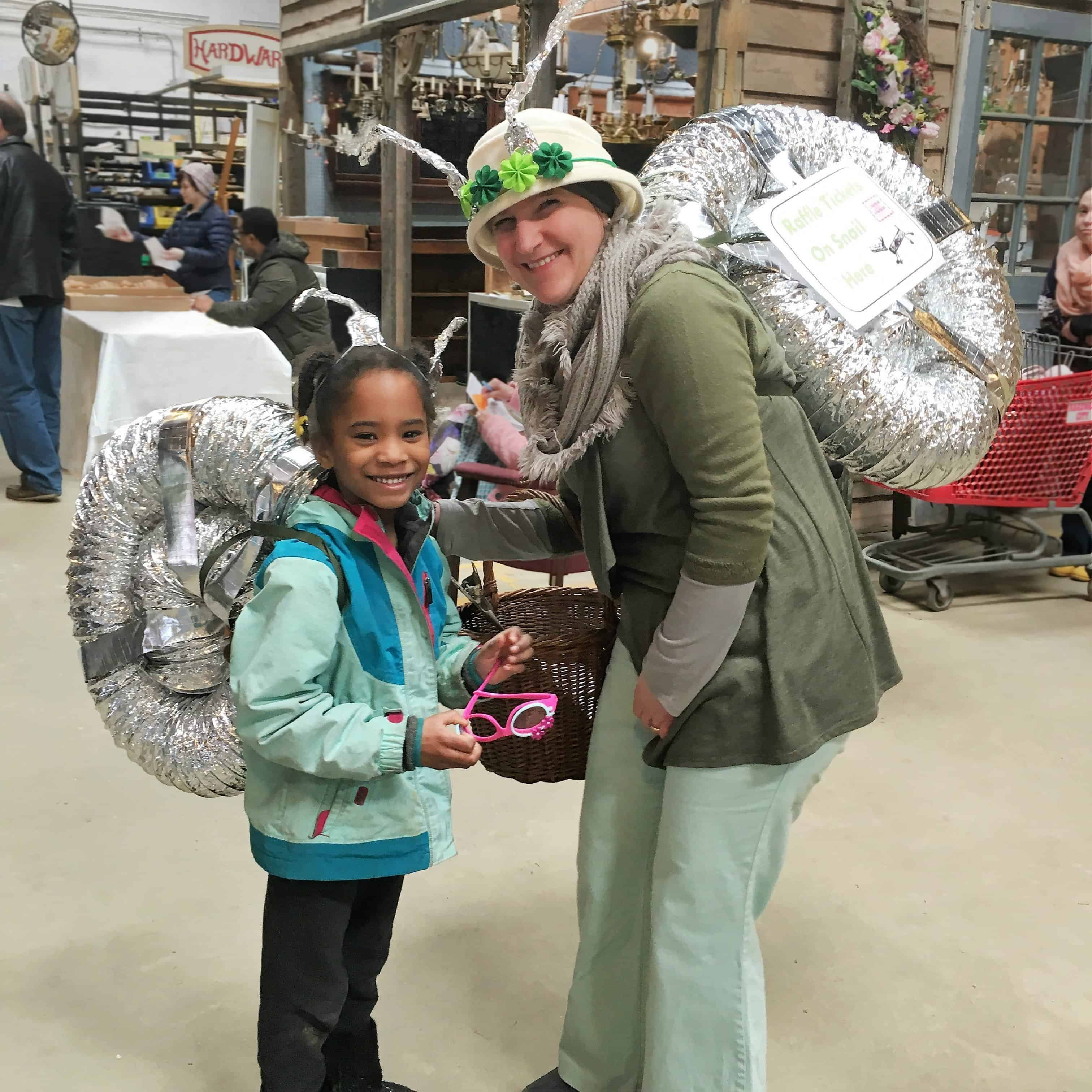 Mother and daughter snail costumes, Community Forklift Garden Party