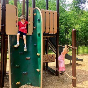 Horsin' around at the Adelphi Mill Playground