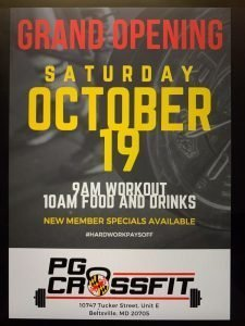 PG CrossFit Grand Opening on October 19th