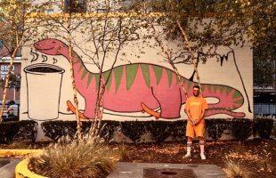 Vigilante Coffee College Park gets a new skateboarding pink dinosaur mural!