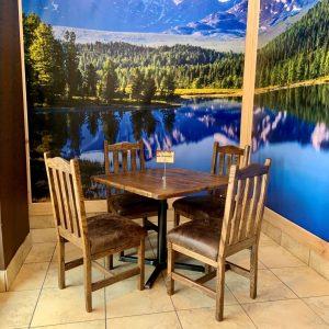 Cabin-like decor at Lil Coffee Cabin