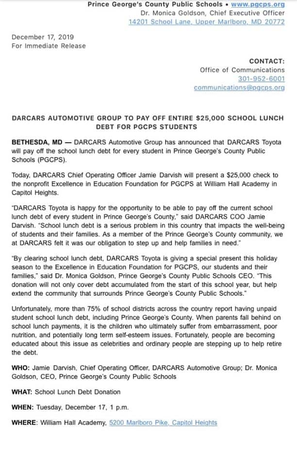 DARCARS to pay off PGCPS Students' lunch money debt