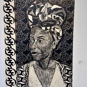 LaToya M. Hobbs, self portrait, wood cut