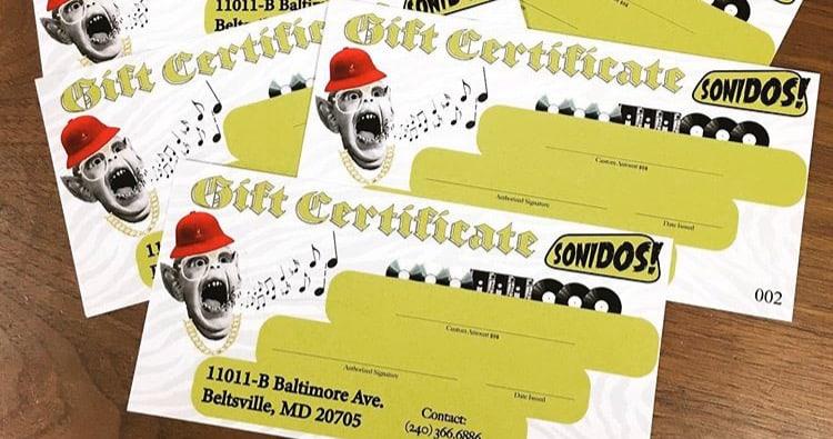 Buy Gift Certificates at Sonidos!