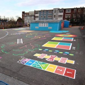 new, colorful designs transform blacktop to playground at Hyattsville Elementary School