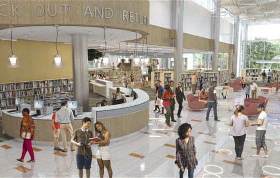 Redering of Inside the Hyattsville Library (By Grimm + Parker Architects)
