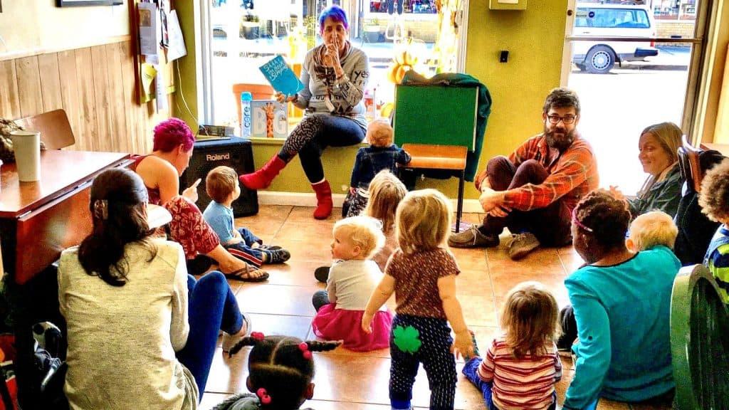 Kids gather around for Storytime in Mount Rainier