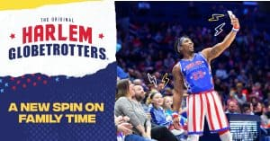Harlem Globetrotters having fun with the crowd