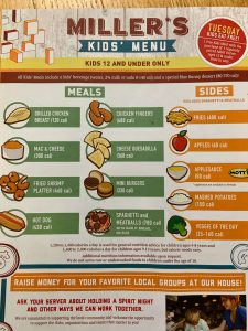 Kids Menu at Miller's Ale House