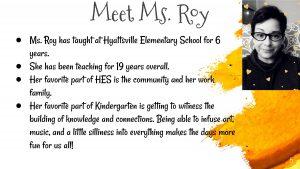 HES Teacher Ms. Roy